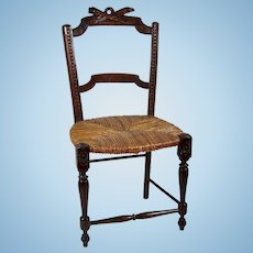 Antique Miniature French Provincial Doll's Chair Original Rush Seat Untouched