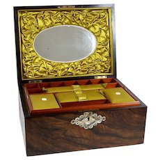 Antique Rosewood Jewelry Sewing Box Satin Interior w/ Mirror MOP Inlay & Key