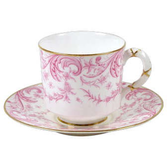 Antique Royal Worcester Demitasse Tea Cup Pink Paisley Gold Trim 3 Ounce 1892