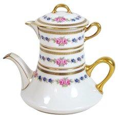Vintage Limoges Personal Teapot Stacking Creamer & Sugar Bowl Bernardaud 1900-29