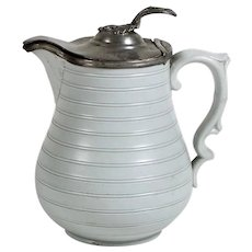 Vintage Pottery Syrup Pitcher Pewter Lid Decorative Handle & Spout Soft Gray