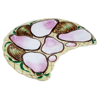 Antique 5 Well Oyster Plate Hand Painted Oyster Shells w/ Pink Wells on Yellow