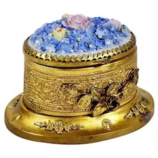 Vintage Brass Inkwell Ormolu Accents Porcelain Forget Me Not Flowers & Roses