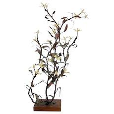 Mid Century Modern Brutalist Metal Table Sculpture Enameled Flowering Tree Pang