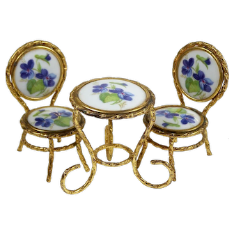 Vintage Dollhouse Miniature Limoges Porcelain Table w/ 2 Chairs Doll or Dollhouse