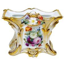 Antique Porcelain Vase Old Paris Hand Painted Roses Attached Flowers Rectangular Shape