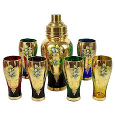Vintage Decanter Set Cocktail Shaker 6 Glasses Enameled Flowers Czech Bohemian