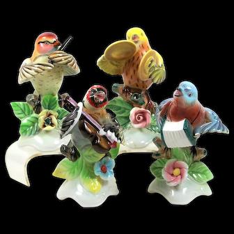 Vintage Lefton Bird Band Figurines 4 Piece Blue Bird Goldfinch Warbler Shrike