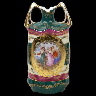 Vintage Porcelain Portrait Vase Prov Saxe ES Germany 1902-1937