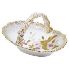 Antique Limoges China Candy Dish Basket Hand Painted Pink Rosebuds