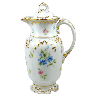 Vintage Limoges Chocolate Pot Hand Painted Flowers w/ Pink Roses Heavily Gilded