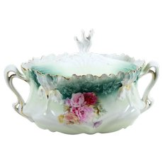 Vintage RS Prussia Iris Mold Biscuit Jar w/ Pink Roses 1904-38 Scalloped Rim