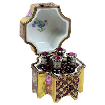 Limoges Box w/ 4 Miniature Jeweled Cranberry Perfume Bottles Phoenix Bird & Rose