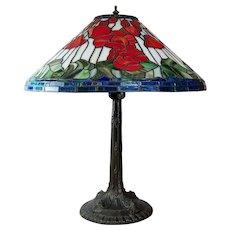 "Vintage Slag Glass Table Lamp Leaded Floral Shade White Metal Base 24"""