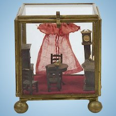"Vintage Miniature Room Box Diorama Tiny 3"" x 3"" Dollhouse Dining Room Glass Box"