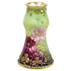 Antique Vase Royal Bonn Hand Painted Floral Gold Clover Borders