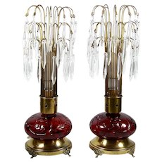 """Antique Table Lamp Pair Red Glass Bases w/ Crystal Prism Shades Footed 19"""""""