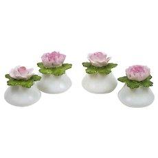 Vintage China Rose Carnation Salt & Pepper Shakers 2 Sets Pink Denton England