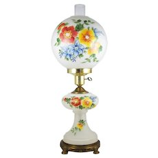 """Vintage Satin Glass Table Lamp w/ Night Light Hand Painted Flowers 25"""" Parlor Lamp"""