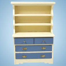 Vintage Dollhouse Painted Cupboard 3 Drawers Miniature Wooden Hutch