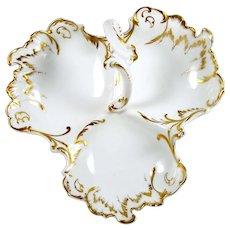 Antique Limoges Divided Dish 3 part Center Handle Hand Painted Gold B & H Paris