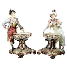 Antique Majolica Figures w/ Bowl Figural Pair Dolphin Footed Pedestal Bowl