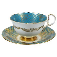 Vintage Aynsley Bone China Tea Cup 1930's Turquoise w/ Gold Floral Overlay 5 oz