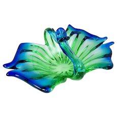 Vintage Art Glass Centerpiece Bowl Butterfly Wings w/ Basket Handle Blue & Green Venetian Style