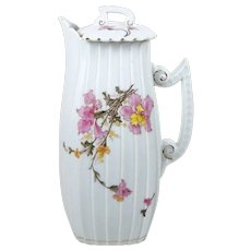 Antique Chocolate Pot Hand Colored Pink & Yellow Flowers 32 oz Pleated Design