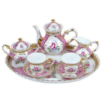 Vintage Child's Tea Set w/ Tray Teapot Cream Sugar 2 Tea Cups Roses on Pink