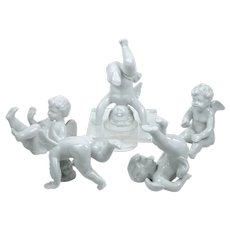 "Vintage Porcelain Angel Figurines Set of 5 Tumbling Cherubs 2 3/8"" - 4 3/8"""