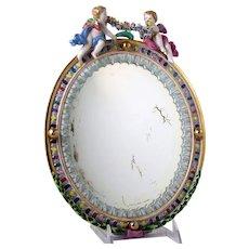 Andrea by Sadek Porcelain Mirror Meissen Style with Cherubs & Flower Garland