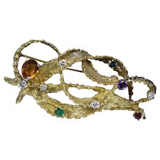 14k - 2.3 CTW - Vintage Diamond Citrine Emerald Sapphire Ruby Amethyst Brooch in Yellow Gold