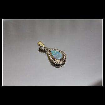 18k - 2.08 CTW - Boulder Opal & Channel Set Diamond Teardrop Pear Pendant Charm in Rich, Bright Yellow Gold