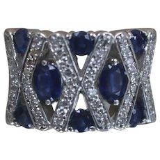14K - 1.89 CTW - X O Design Dazzling Sapphire & Diamond Ring in White Gold