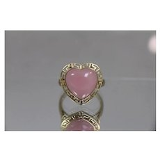 14k - Opaque Pink Heart Shape Jade in Greek Key Yellow Gold Mounting