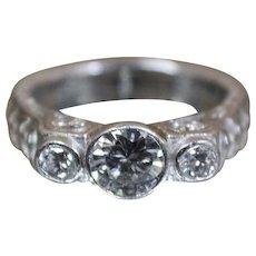 .980 Platinum - 1.25 CTW Vintage Thick Heavy Diamond Ring - 98% Platinum!