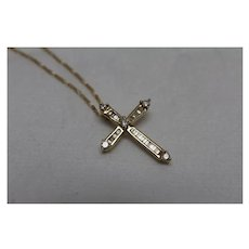 """14k - .50 CT - High Quality Diamond Cross on 22"""" Figaro Link Chain Necklace in Yellow Gold"""
