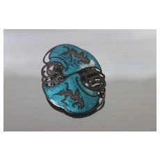 925 - Siam Jewelry - Vivid Enamel with Thai Dance Pin Brooch in Sterling Silver