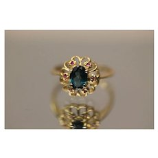 1.00 CTW 14k Blue Tourmaline & Pink Sapphire Cute Cluster Style in Yellow Gold