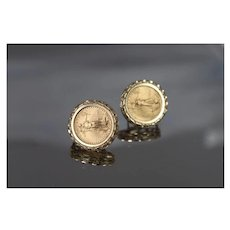 14k & Coin - Pair of United States Gold Eagle Coin Omega Back Stud Earrings in Fancy Bezel in Yellow Gold