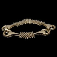 14k - Fancy Horsebit & Finishline Style Link Bracelet in Yellow Gold
