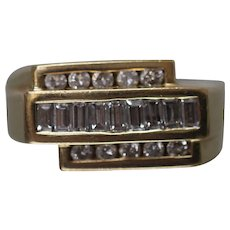 14k - 1.00 CTW - Cardow Designer Mens Tiered Channel Set Diamond Band in Yellow Gold