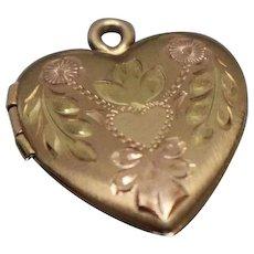 14k - Fancy Heart Locket with Nouveau Floral Artistic Details in Tri Color Gold