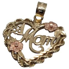 SALE! - 14k - #! Mom Detailed Rope Heart Pendant Charm in Yellow & Rose Gold
