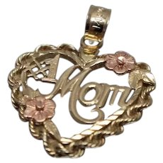 14k - #! Mom Detailed Rope Heart Pendant Charm in Yellow & Rose Gold