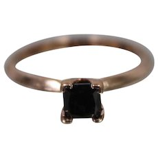 10k - .60 CTW - Vintage Princess Cut Black Diamond Solitaire Ring Band in Beautiful Rose Gold