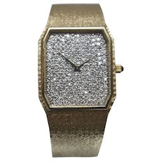 14k - 2.50 ct - Rare Diamond Encrusted Longines Wrist Watch All Gold Limited Edition