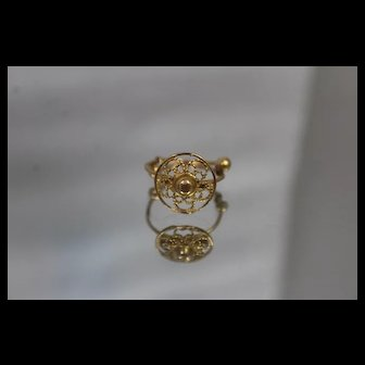 21k 21c - Vintage Adjustable Band Floral Shield Top Ring in Bright Yellow Gold