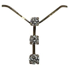 14k - 1.00 ctw - 3 - Stone Diamond Drop Pendant on Box Link Chain Necklace in Yellow Gold